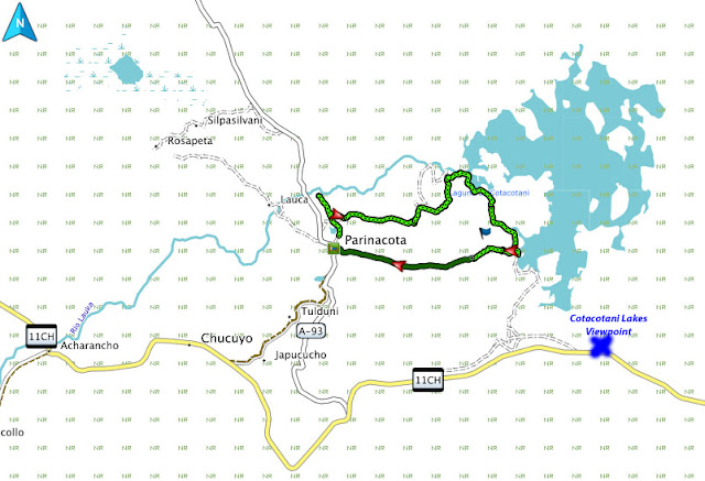 desert trekking: Cotacotani Lakes route and map