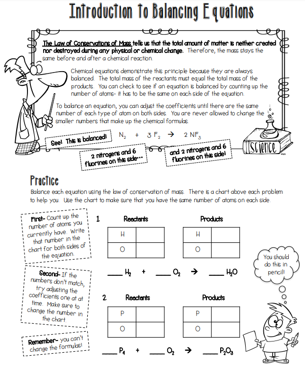 Science 8: Intro to Balancing Equations Worksheet