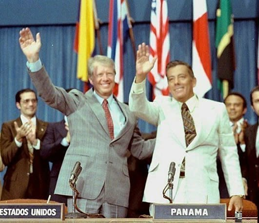 1978 President Jimmy Carter and Panamanian leader Omar Torrijos exchanged the instruments of ratification for the Panama Canal treaties.