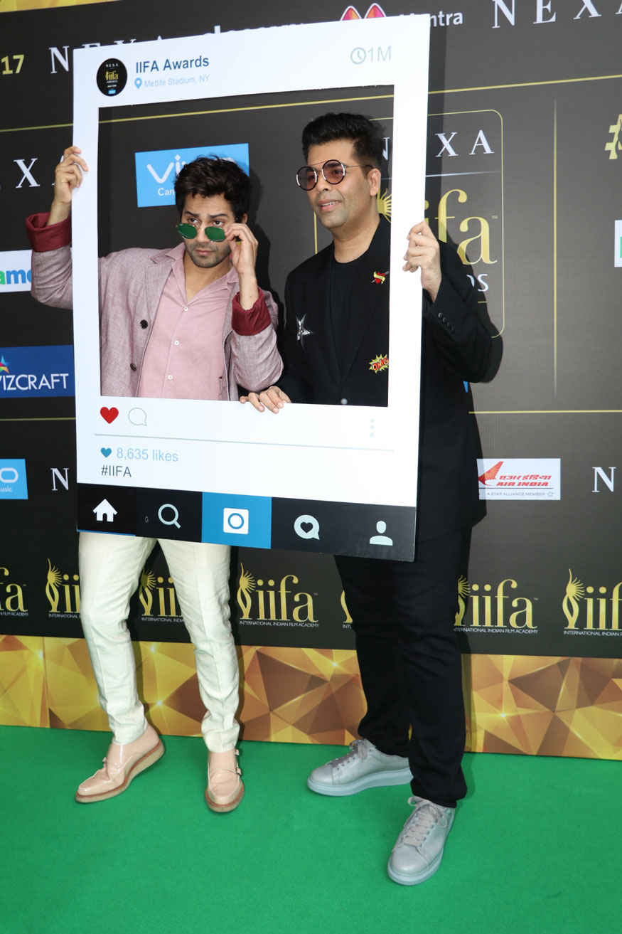 Varun Dhawan and Karan Johar at IIFA 2017 Press Conference at PVR Premiere