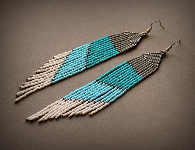 очень длинные бисерные серьги купить в интернет магазине украшения в стиле бохо