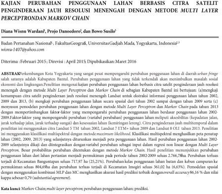 Kajian Perubahan Penggunaan Lahan Berbasis Citra Satelit Penginderaan Jauh [Paper]