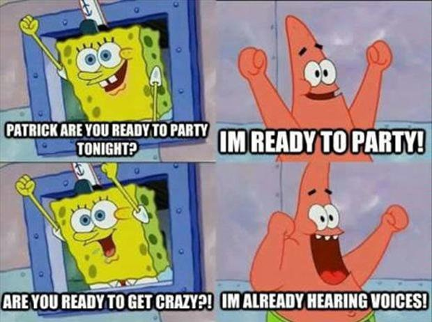 Patrick and Spongebob getting ready to go crazy at a party