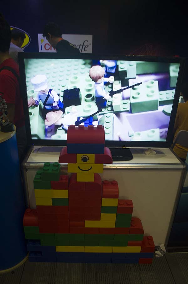 LEGO blocks and a TV