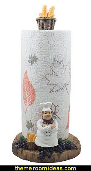 French Chef Pierre Paper Towel Holder for Cottage Kitchen Decor