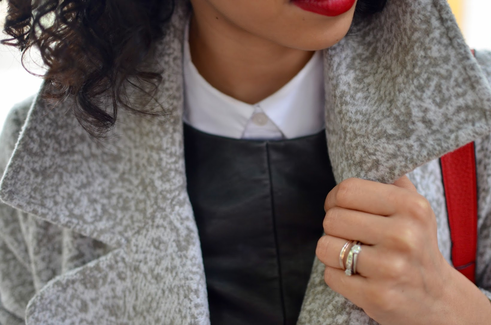 oversized gray coat, boohoo, The Harbingers, online store, fringe red bag, red fringe bag, leather tee, short curly hair, curly bob, strappy flats, Blank NYC denim