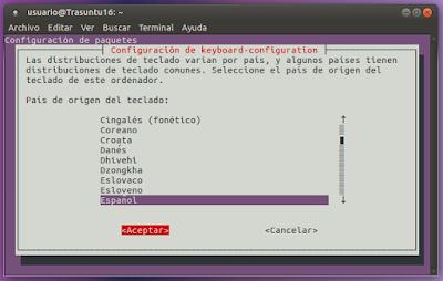 Configuración país teclado Español