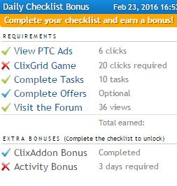 Liste quotidienne de ClixSense