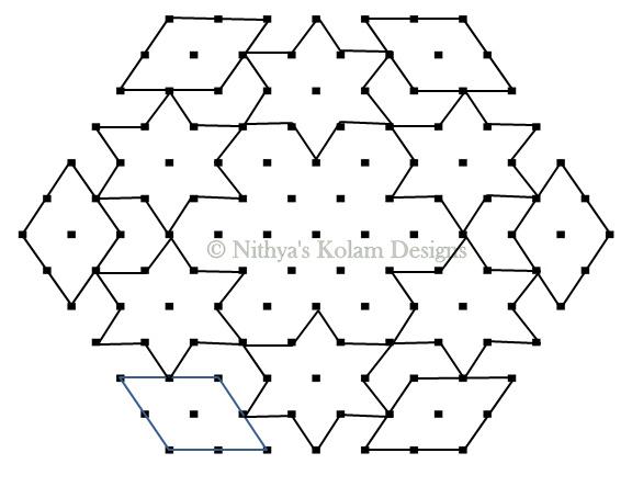 Nithya's Kolam Designs: Kolam 69 : Star Kolam 13 To 7 Dots