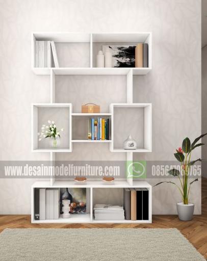 Rak buku minimalis modern dari kayu warna putih
