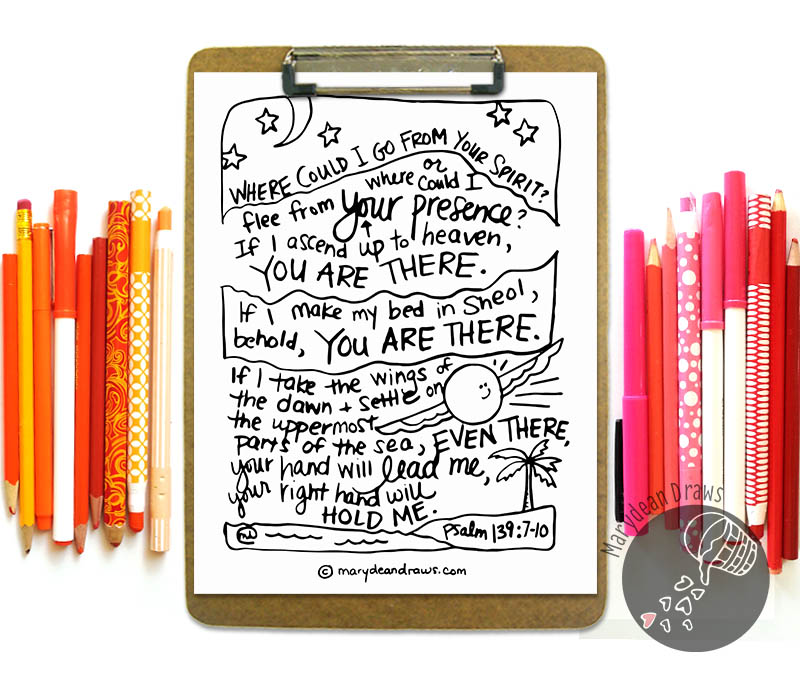 Even There Psalm 139 Printable Coloring Page Marydean Draws