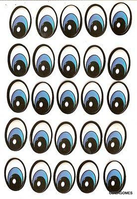 Confira esse molde de olhos de todos os tamanhos e modelos em EVA
