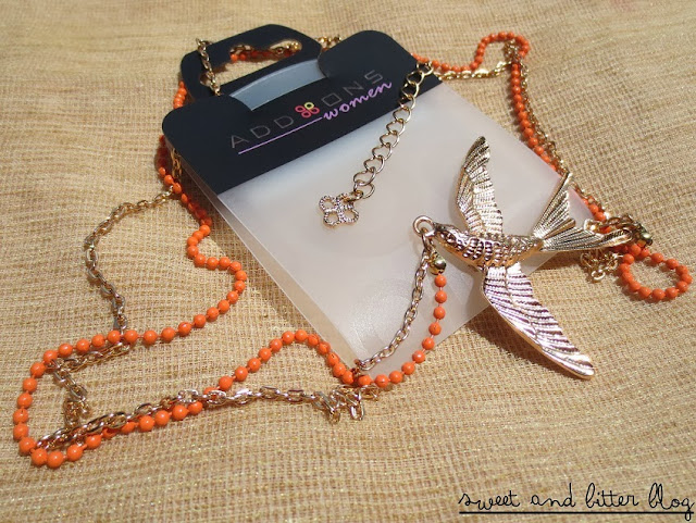 Bird Necklace with Gold Chain and Orange Beads from Add Ons