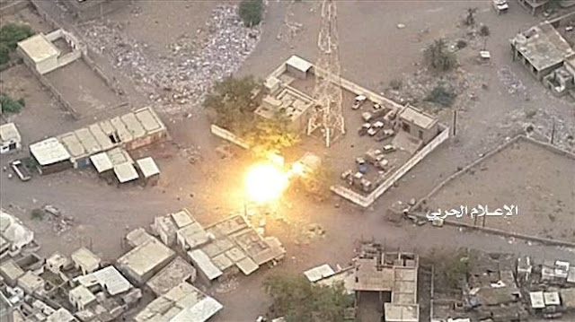 Image Attribute: The file photo shows the aftermath of a Yemeni drone strike against the command center of Saudi-led forces in Yemen's western coastal city of Hudaydah on September 11, 2018. / Source: Media Bureau of Yemen's Operations Command Center/Press TV