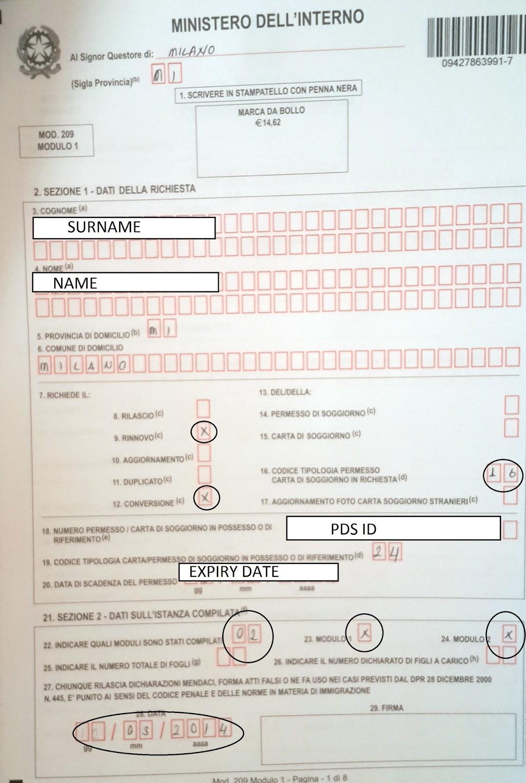 Permesso di soggiorno may s 2014 for Documenti per richiesta carta di soggiorno