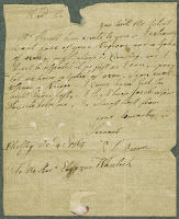 A page from a letter addressed to Eleazar Wheelock.