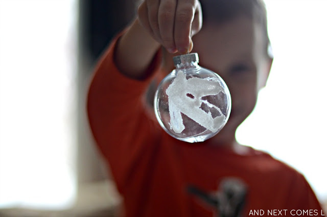 Easy Christmas craft idea: make glue & salt ornaments from And Next Comes L