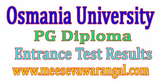 Osmania University PG Diploma Courses 2016-2017 Entrance Test Results