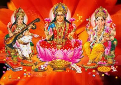 Maa laxmi with ganesh and sarswati