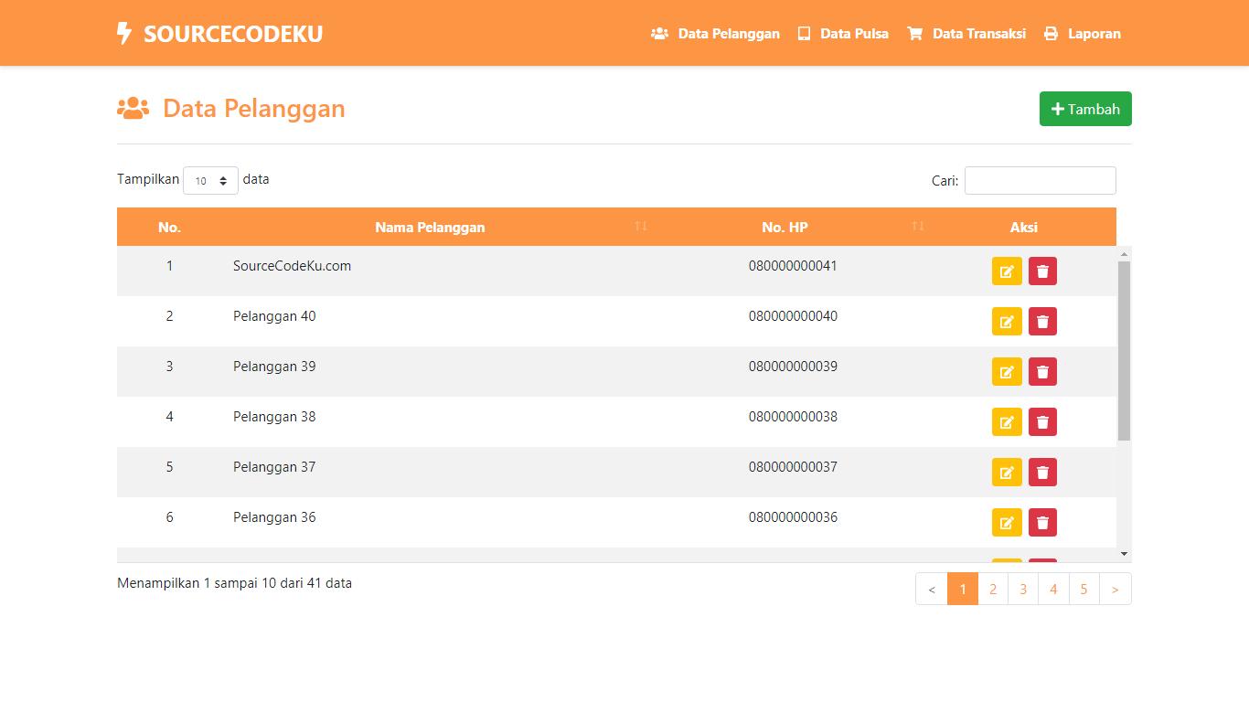 Aplikasi Transaksi Penjualan Pulsa - SourceCodeKu.com