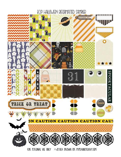 Free Printable Reformatted Halloween Sampler for the Erin Condren Life Planner on myplannerenvy.com