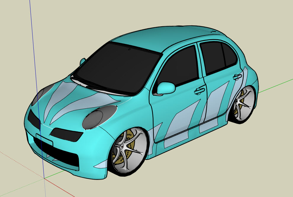 Drawing and Graphics : Tuned Nissan Micra | 3D Model download free