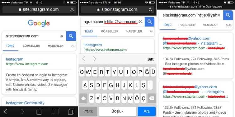 İntitle etiketi, herkese açık Instagram e-posta adreslerini listeleyecektir.