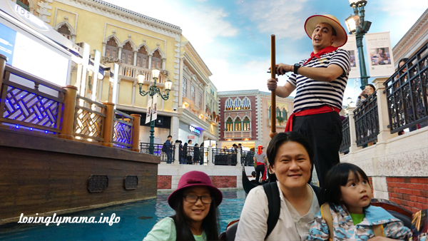 Gondola ride at Venetian Macao - travel with kids