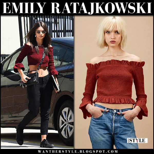 Emily Ratajkowski in burgundy off shoulder crop top again collection august 21 2017