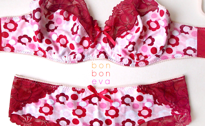 Flower Power cotton and lace bra and Brazilian style knickers lingerie set by bonboneva