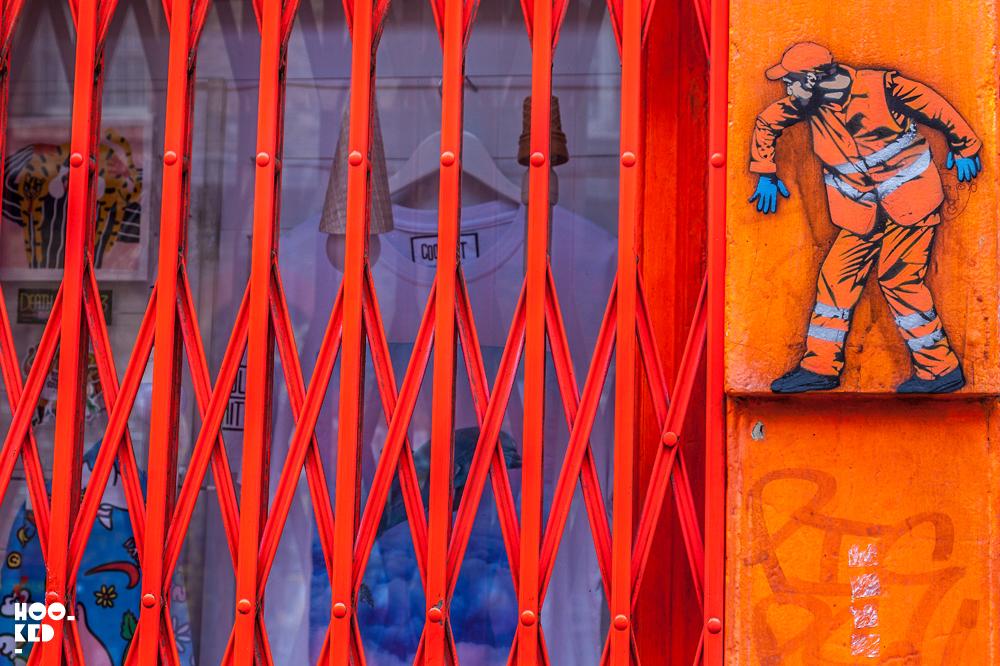 Belgian Street Artist Jaune stencil work on Sclater Street, London