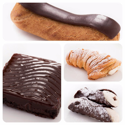 Cannoli, Lobster tail, brownie e Eclair de creme de baunilha