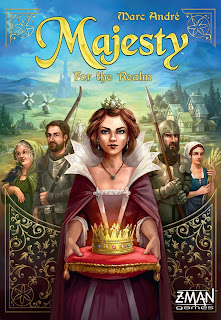 The cover art for Majesty: For the Realm. A queen stands in front of four other people; two look like warriors, one looks like a young peasant girl, and the last one looks like an old peasant woman. The queen is holding a fancy cushion on top of which sits a crown. These people are looking towards the viewer with fields in the background; windmills and other buildings can be seen in the distance.