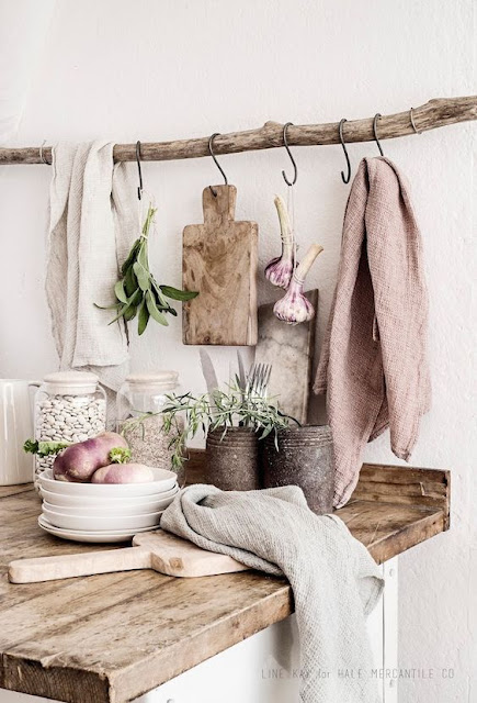 Rustic organic shabby chic slow living kitchen vignette - found on Hello Lovely Studio