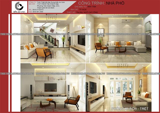 Mẫu thiết kế đẹp 2 tầng bán cổ điển mặt tiền 5m tại Long An Phong-khach