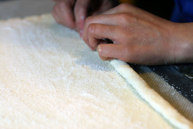 Dough being rolled for the kouignettes