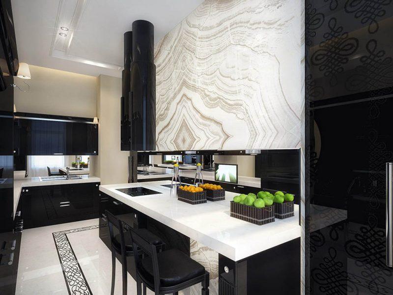 Thiết kế nội thất phòng bếp với ý tưởng đen - trắng kết hợp