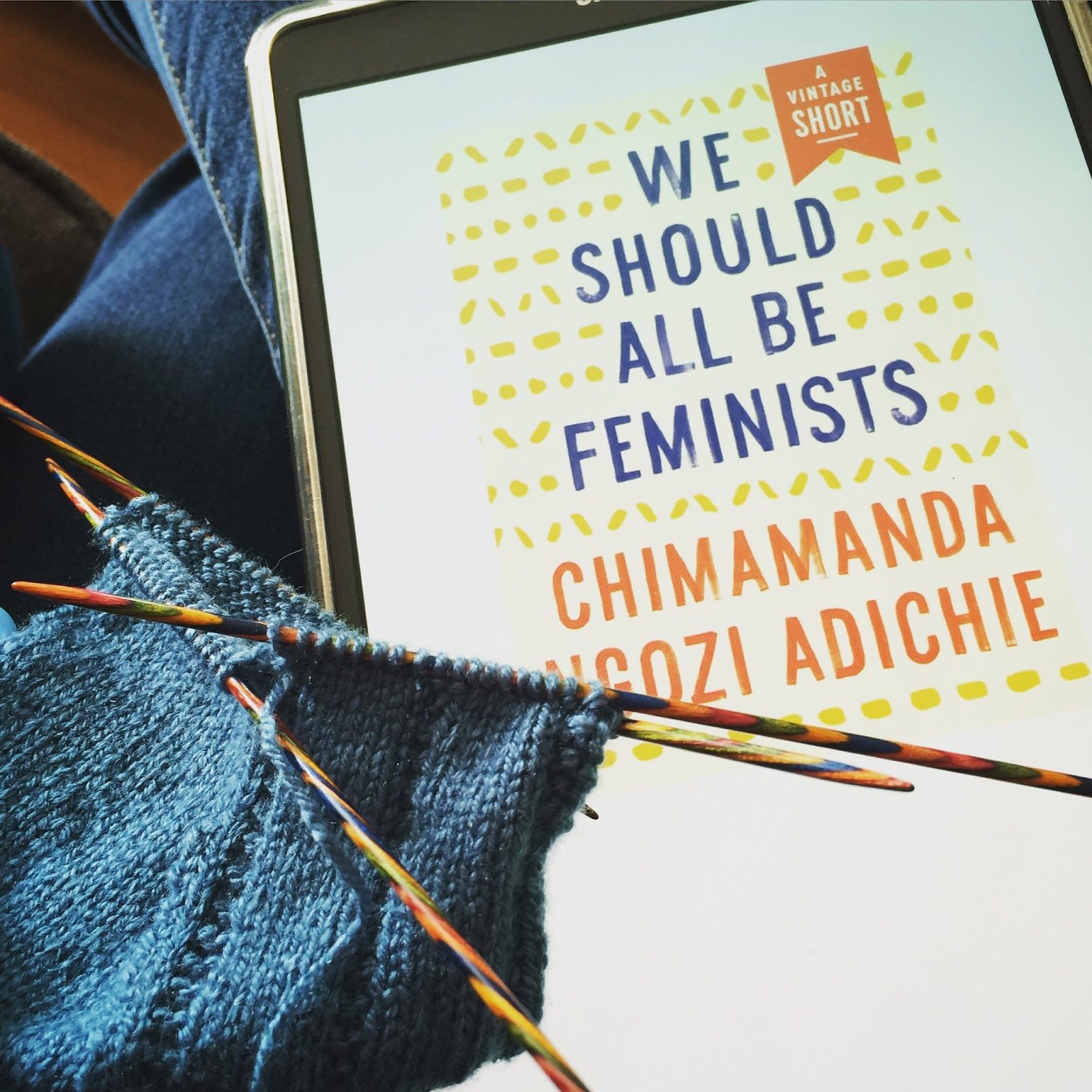 Knitting with We Should All Be Feminists
