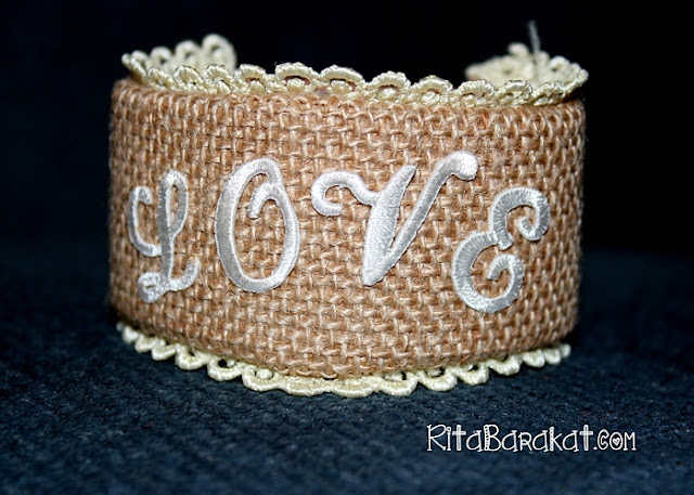 burlap leather cuff bracelet