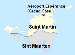 Carte Saint Martin avec la frontière entre la partie francaise et neerlandaise
