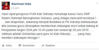PGRI : Mohon Dukungan untuk Guru SMP di Sidoarjo yang Besok Hadapi Persidangan Atas Kasus Dugaan Cubit Siswanya