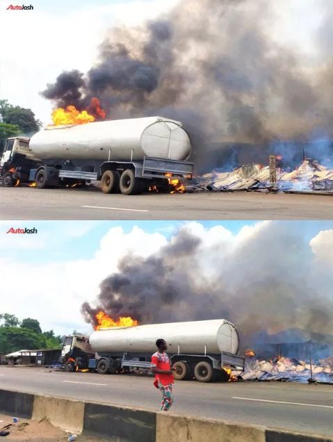 Petrol Tanker Catches Fire On Lagos-Benin Expressway (Pics)