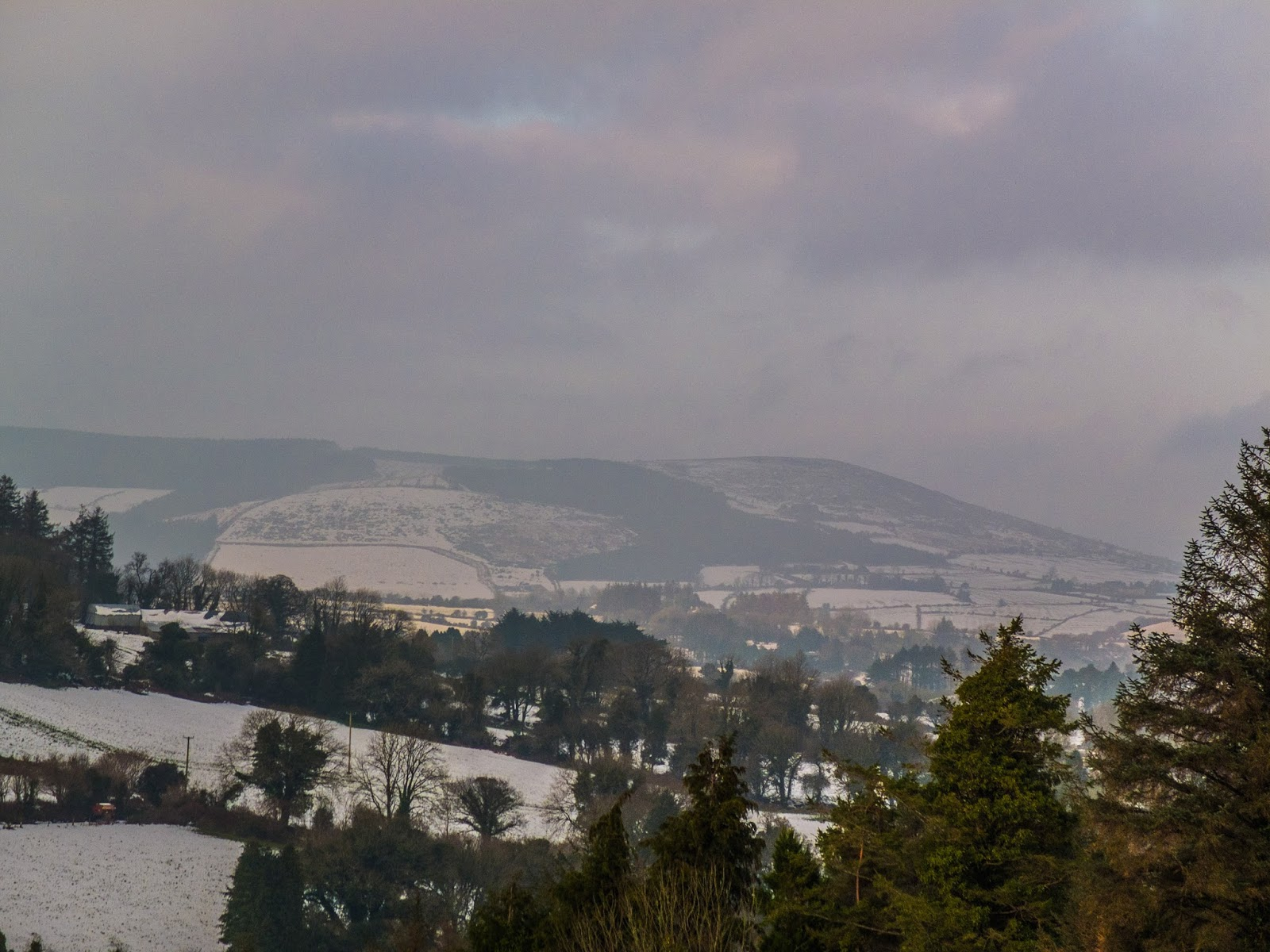 View of snow capped Mount Hilary in North Cork during Storm Emma.