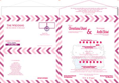 Desain Undangan Pernikahan Cantik Black White & Amplop Pink Format Coreldraw Gratis