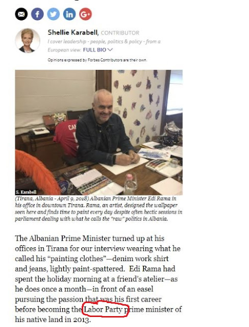 Forbes journalist Shellie Karabell grave mistake: Edi Rama comes from Labor Party