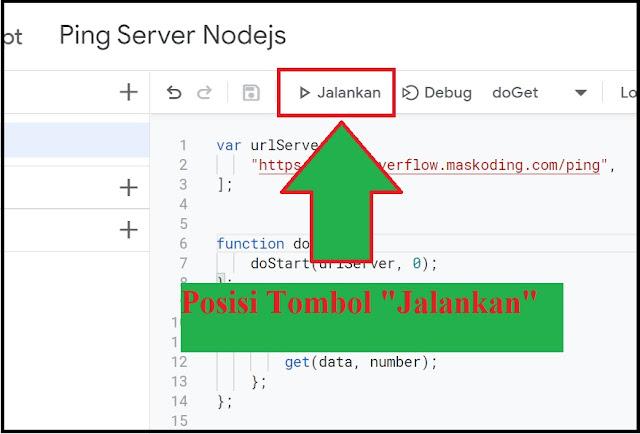 posisi tombol running google script