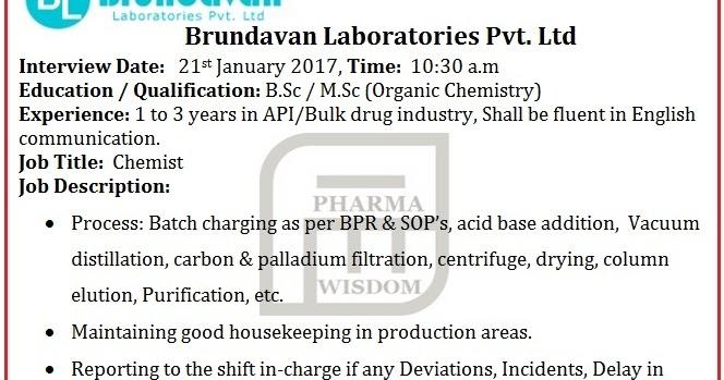 PHARMA WISDOM: Brundavan Laboratories Pvt. Ltd - Walk-In Interview ...