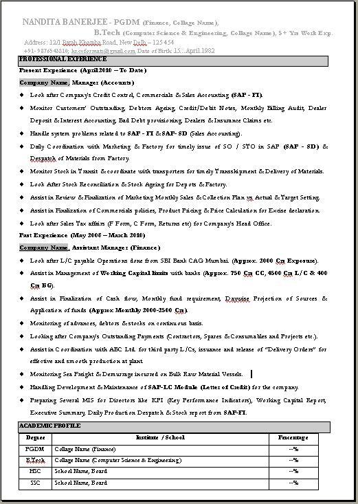 Bca Resume Format Mca Fresher Resume Format Doc Bca Fresher