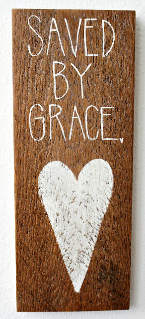 Saved by grace inspirational sign hand painted on barn wood