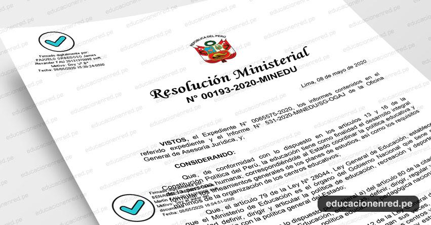 MINEDU publicó Anexo de la R. M. N° 193-2020-MINEDU que aprueba el procesamiento de solicitudes para estudiar en un colegio público a través de la Plataforma Virtual WWW.MATRICULA2020.PE